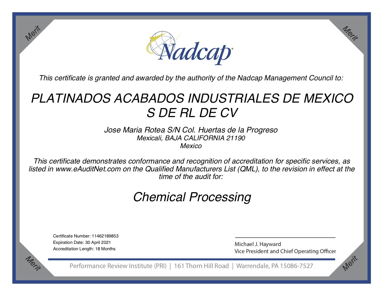 NADCAP Chemical Processing Expiration date, 30 April 2021